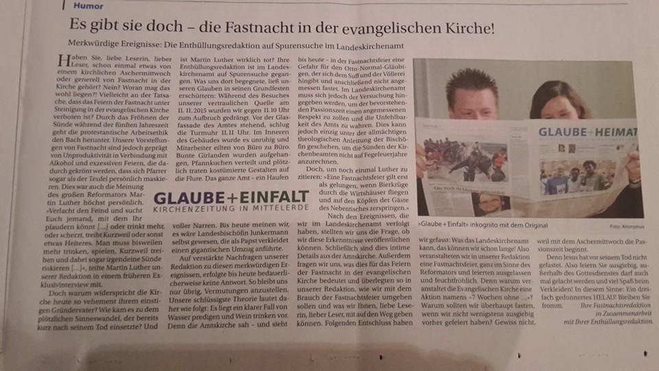 +++ Satiremagazin über Kirchenzeitung +++